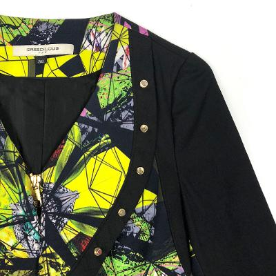 stud v neck ruffle jacket yellow